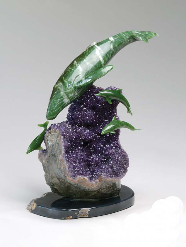 Whale-Dolphins in jade amethyst agate by Lyle Sopel