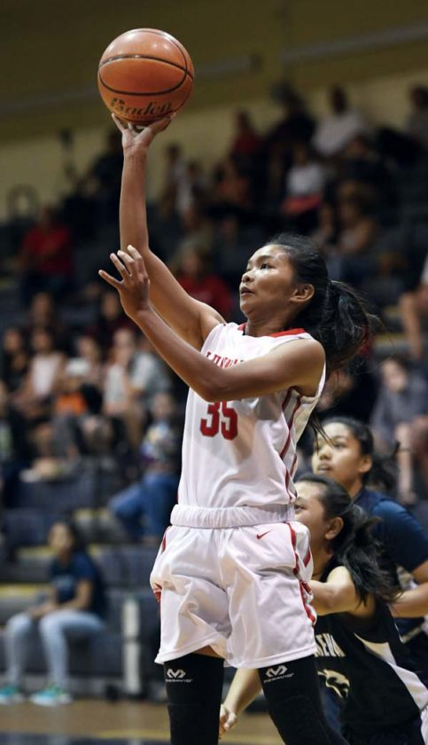 Ashley Akamine of Lahainaluna High School goes up for a shot during the second quarter of the Lunas' 56-43 win over Kamehameha Maui on Saturday at the Lahaina Civic Center. -- The Maui News / MATTHEW THAYER photo