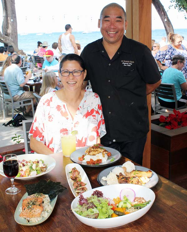 Project Manager Nicky Boskoff and Corporate Chef Ivan Pahk of Na Hoaloha 'Ekolu restaurant group are proud of the contemporary open  feel of the popular restaurant along with the new menu. The Maui News / CARLA TRACY photos