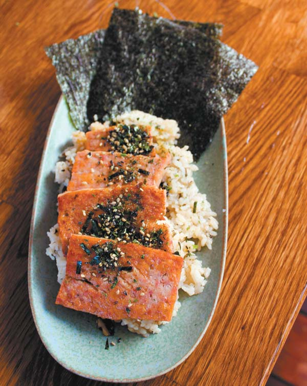 """Wrap your own """"Spamp"""" musubi with shiitake rice in nori sheets at your table."""
