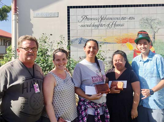 Brian Stoneburner (from left), Julia Wagner, Theresa Marzan and Donna Keanini of Princess Nahienaena Elementary School are shown with Josh Fukagawa, Duke's Beach House Manager, at the awards presentation.