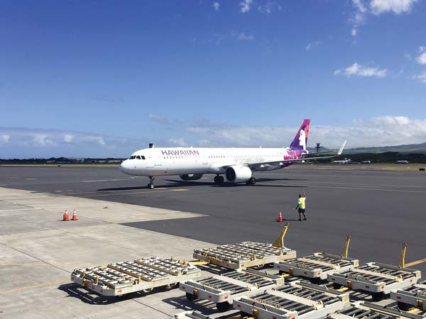 Hawaiian Airlines celebrated its first scheduled A321neo aircraft flight Monday at Kahului Airport. The flight was between Kahului and Oakland. The aircraft is scheduled to begin service between Kahului and Portland, Ore., on Jan. 18. The aircraft also will provide U.S. West Coast travelers with more nonstop flights to the islands. The midrange aircraft carries 189 passengers, and it's smaller than the wide-body aircraft currently used for U.S. and international flights. Hawaiian Airlines photo