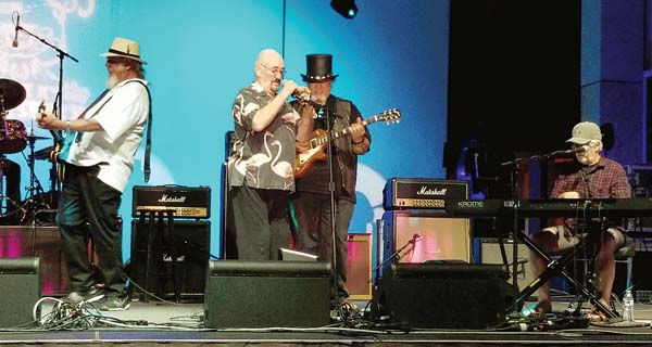 """Ray Benson (from left), Dave Mason, Willie K and Michael McDonald jammed during the """"Willie K Blues Fest"""" last weekend. Jon Woodhouse photo"""