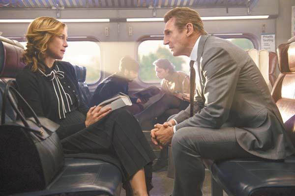 """Vera Farmiga (left) and Liam Neeson take the danger train in """"Commuter."""" Lionsgate via AP"""