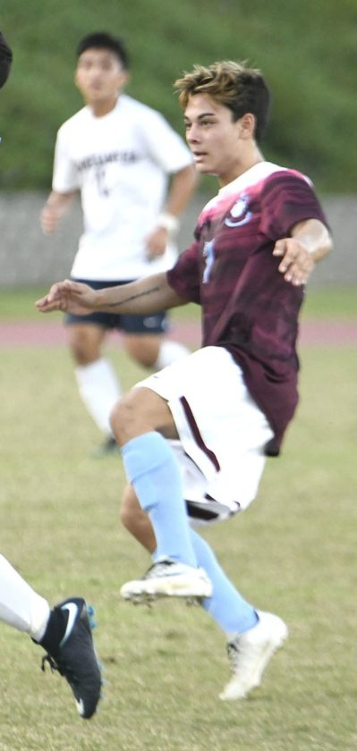 The Bears' Angelo Deloso-Flocco follows through on his goal in the first half. • The Maui News / MATTHEWTHAYER photo