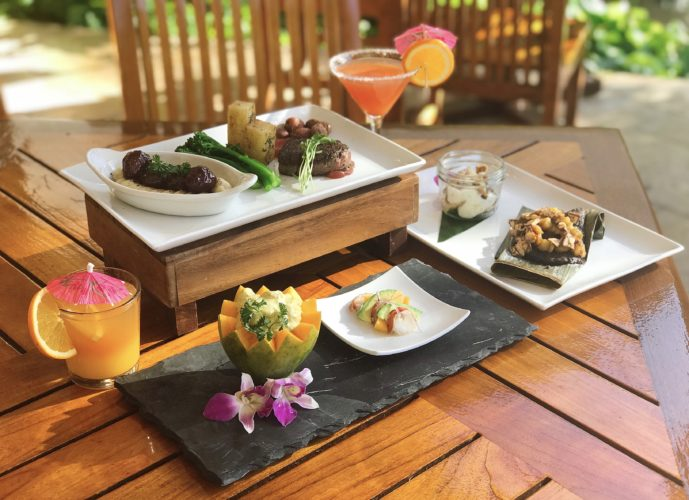 Creative and playful menu items (first photo) range from curried lobster in papaya shell paired with lobster salad; meatballs and grape jelly paired with filet of beef tenderloin; and bananas Royale paired with green-banana and chocolate pastele. • Sheraton Maui photo