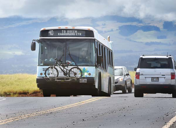 A Maui Bus makes its way toward the Queen Ka'ahumanu Center transit hub in Kahului in 2015. The center has notified Maui County that its lease for a bus stop at the center will expire in January 2020. The county has identified a half-acre site for a new transit center near the intersection of Vevau and School streets in Kahului. On Friday, Mayor Alan Arakawa asked state lawmakers for $2.5 million in capital improvement funding for the project. -- The Maui News / MATTHEW THAYER photo