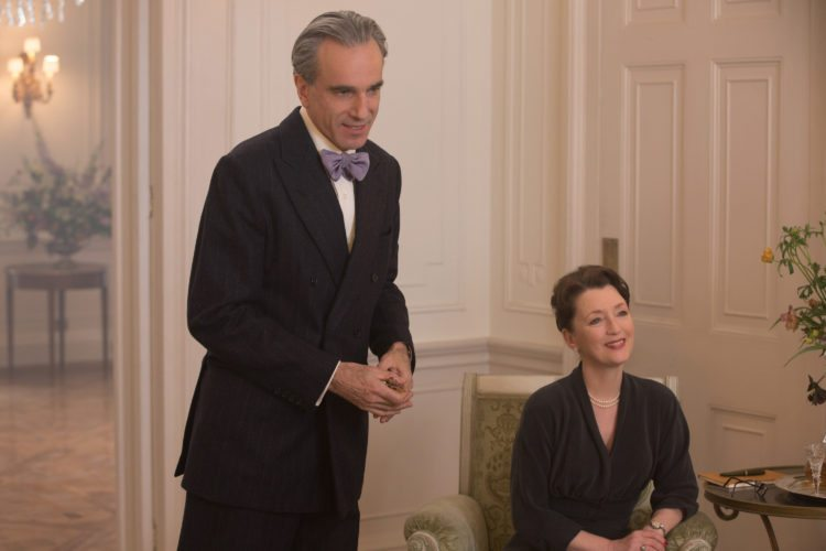 "Daniel Day-Lewis (left) and Lesley Manville are brother and sister running a fashion house in ""Phantom Thread."" • Twentieth Century Fox via AP"