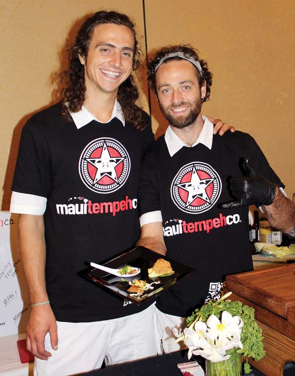 Maui Tempeh business partners Mikel Gosney (left) and Jaime Tourin are innovators of their adzuki-bean product line. The Maui News / Carla Tracy photo