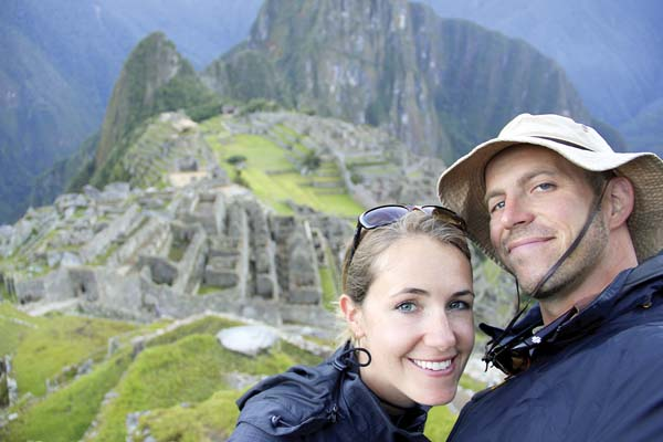Anne (left) and Mike Howard on a trek to Machu Picchu in Peru. -- APphoto