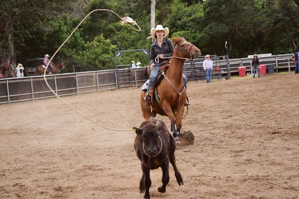 Isabella Stolley competes in high school breakaway roping during the Hawaii High School Rodeo Association Maui District shows last weekend at Kaonoulu Ranch in Makawao. EMY FERGUSON photos
