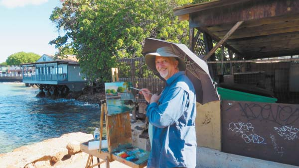 Lanai plein air artist Mike Caroll. Maui Plein Air Painting Invitational • Lahaina Harbor • Saturday. Maui Arts League photo