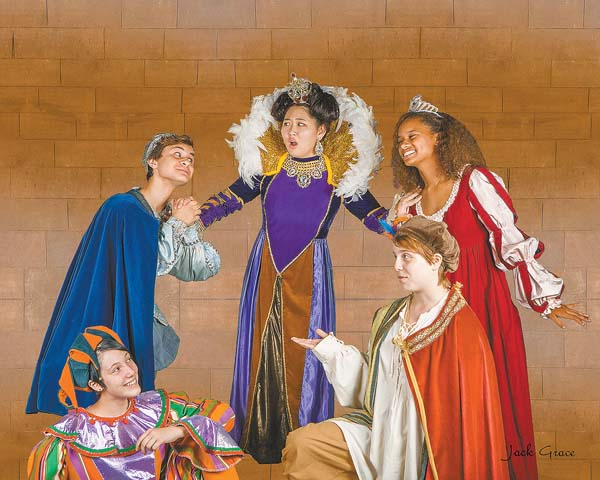 "Amber Seelig (kneeling), Jaysen Giroux, Alexis Ong, Stephanie Reisdorph (kneeling) and Dominique Turner in Baldwin Theatre Guild's ""Once Upon a Mattress: photo by Jack Grace"