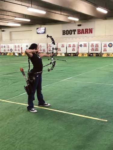 Liko Arreola, 10, competes at the National Field Archery Association Vegas Shoot last weekend. She placed first in her division. -- TERI ARREOLA photo