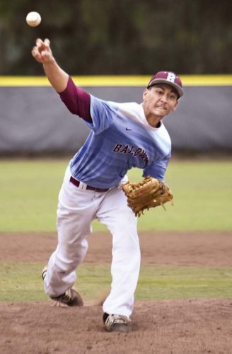 Bubba Hoopii-Tuionetoa of Baldwin High School releases a pitch during the second inning of the Bears' 10-0, five-inning win over Hilo on Friday at Maehara Stadium. -- The Maui News / MATTHEW THAYER photo