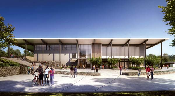 The library/cafeteria building of the Kihei high school is planned for the upper campus. It would be built in the campus's second phase of construction, following an initial phase of infrastructure development with grading, roads and laying of pipes. Inside, students would have a raised stage area and cafeteria seating. -- G70 rendering