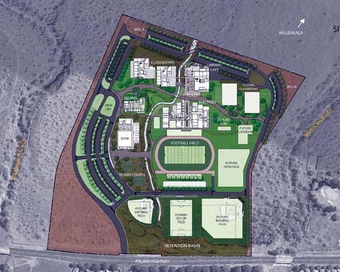 A diagram shows the site plan for the Kihei high school project at full build-out. Plans call for the school to be built in phases in three tiers — athletic fields on the lower campus, gymnasium on the middle and academic buildings on the upper campus. -- G70 graphic