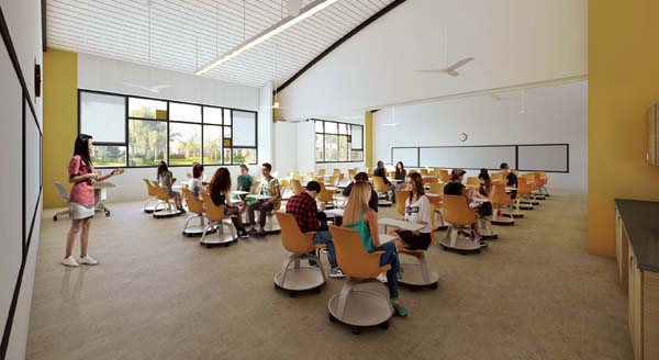 A rendering displays a classroom with student desks, overhead fans and lighting from windows. -- G70 rendering