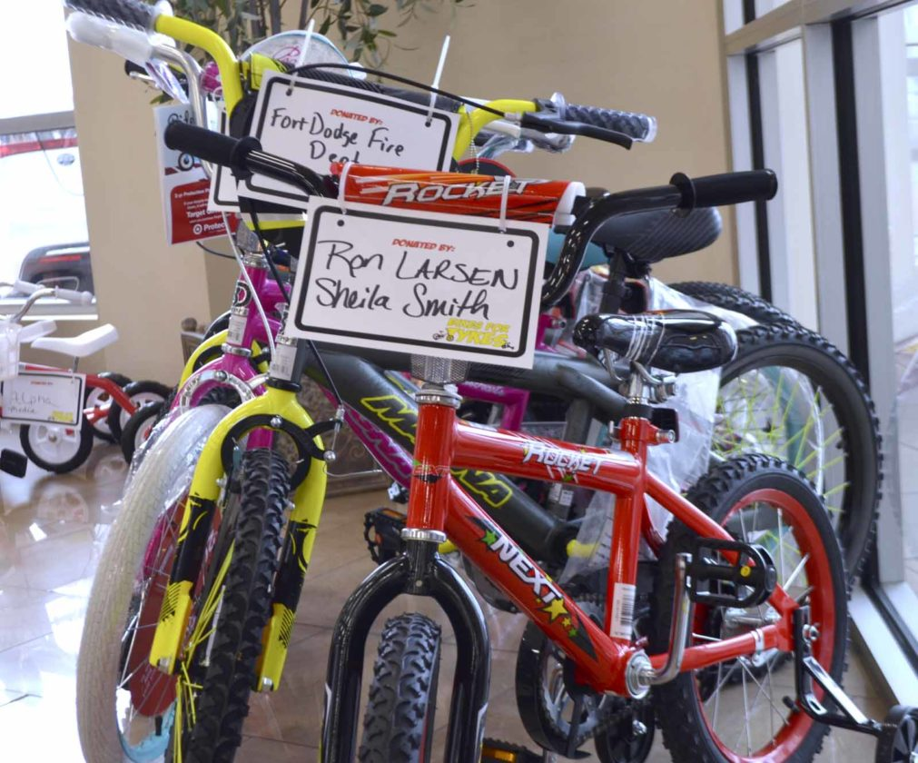 -Messenger photo by Chad Thompson  Dozens of people, businesses and organizations donate to Bikes for Tykes every year, according to Matt Johnson, general manager of Fort Dodge Ford Lincoln Toyota.