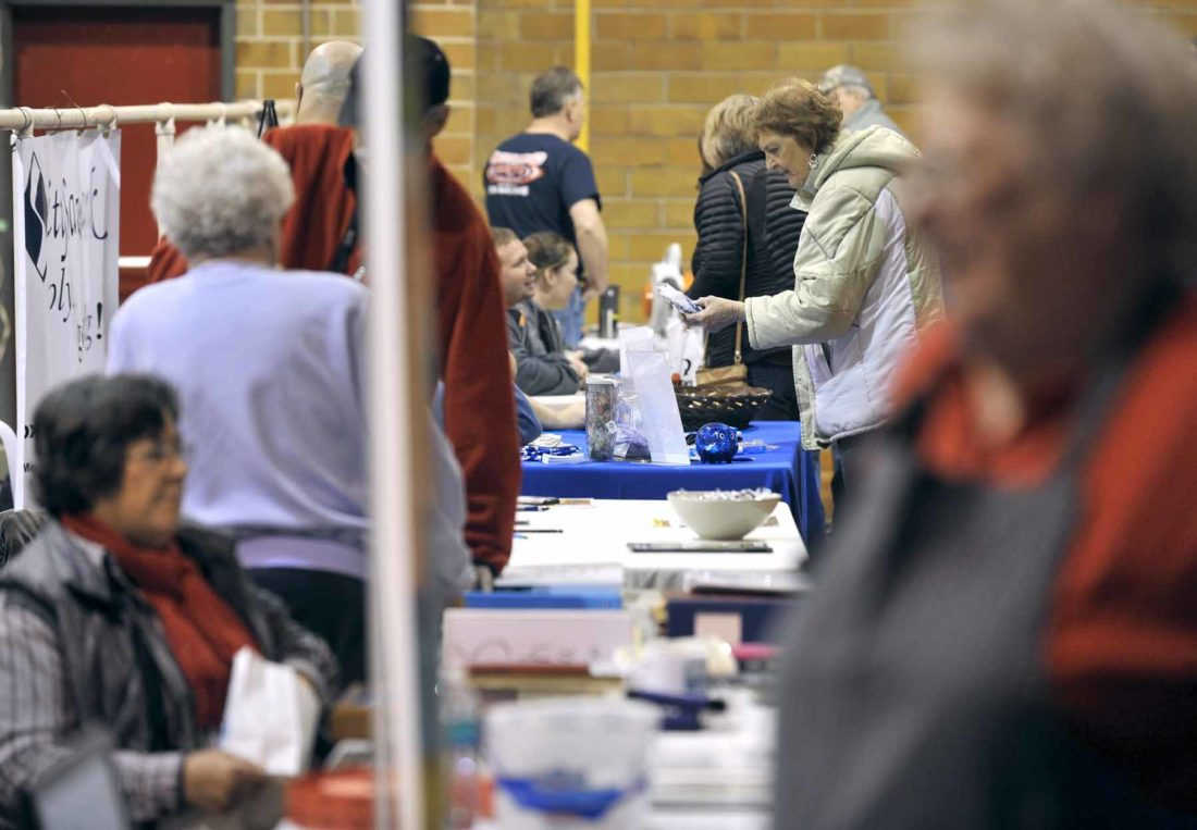 -Messenger photo by Hans Madsen  The Dayton Community Center was a busy place Friday as Dayton and area businesses showed their offerings during the annual Dayton Expo.