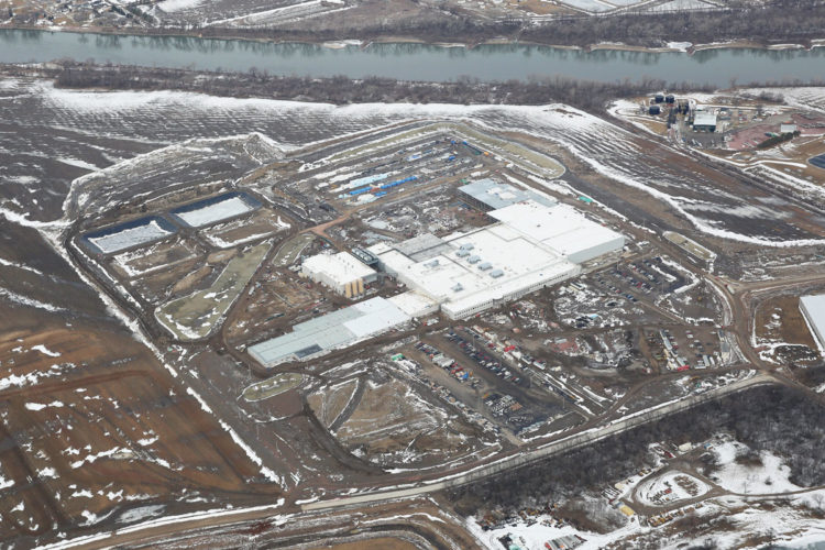 -Submitted photo  An aerial view of Seaboard Triumph Foods pork processing plant in Sioux City shows the facility nearing completion and ready to begin operations.