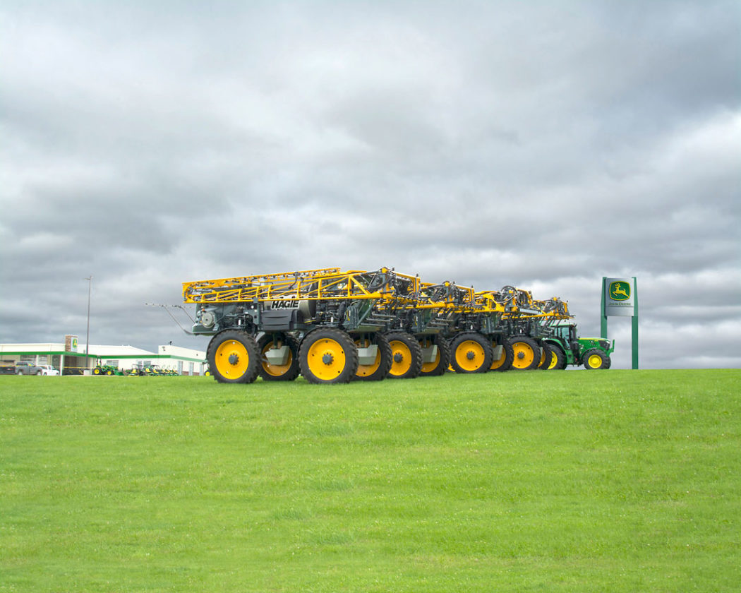 -Submitted photo This is a line-up of Hagie self-propelled sprayers displayed on a John Deere dealership's lot.