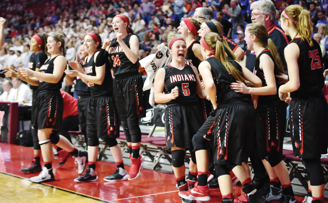 -Messenger photo by Britt Kudla Pocahontas Area celebrate a win over Sioux Center during Class 3A Championship on Saturday
