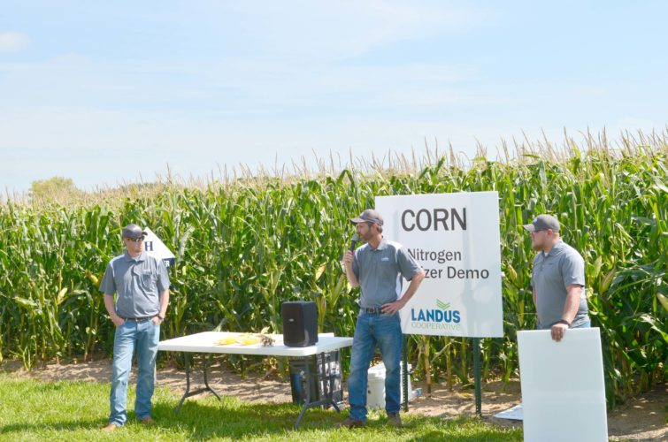 -Messenger photo by Kriss Nelson Brian Berns gives a demonstration during Landus Cooperative's field day in August 2016. Berns is Iowa's 2017 Certified Crop Advisor of the Year award recipient on Feb. 27 in Ames.