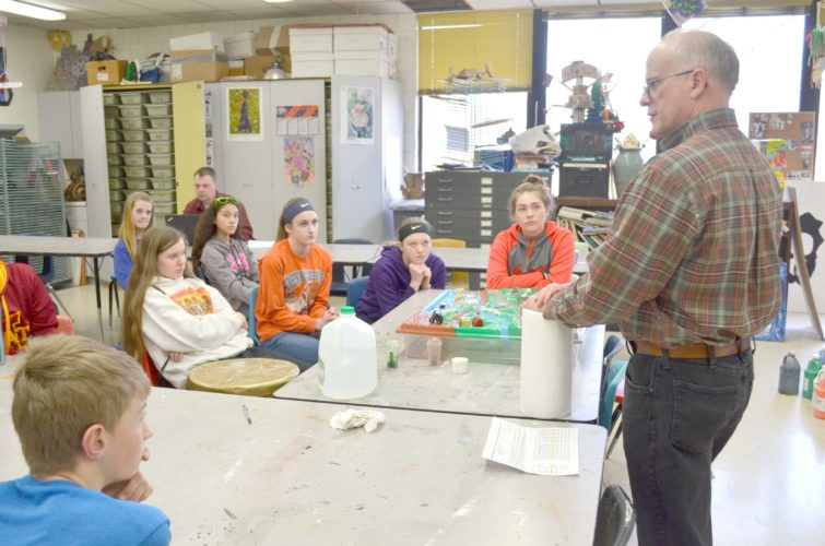 -Messenger photo by Kriss Nelson Denis Schulte talks about the dynamics of a watershed during the March 28 Ag Ed Day in Manson.