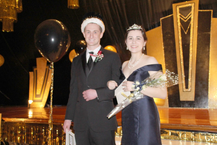 "Matt Bennett, son of Dan and Angie Bennett, and Teresa Touney, daughter of Ed and Hiedi Touney, were crowned as the king and queen of the St. Edmond Prom . The theme for this year's prom was ""Putting on the Ritz"" with the theme carried out in the decorating for the night."