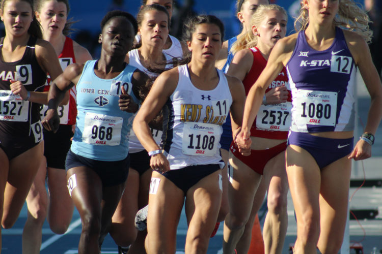 —Photo by Kirk Hardcastle  Iowa Central's Agnes Mansaray finished third for the Tritons in the women's 800 unseeded event at the Drake Relays on Thursday.