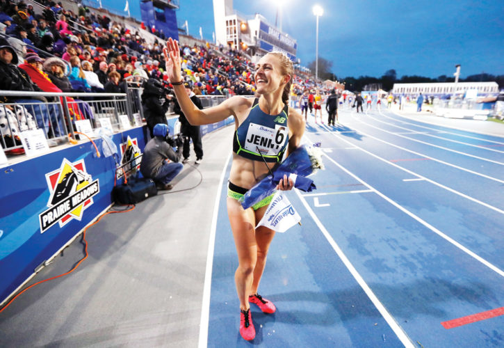 AP Photo  Jenny Simpson waves to fans after winning the women's special 1500-meter run at the Drake Relays on Friday in Des Moines.