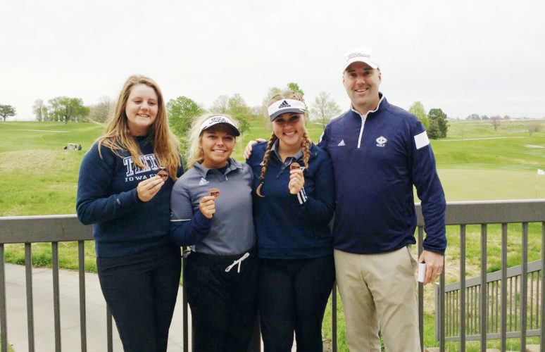 Submitted photo  Iowa Central players (left to right) Brittani Jenson, Hannah Hoffa and Kylie Kuiper pose with Triton head golf coach David Barwin.