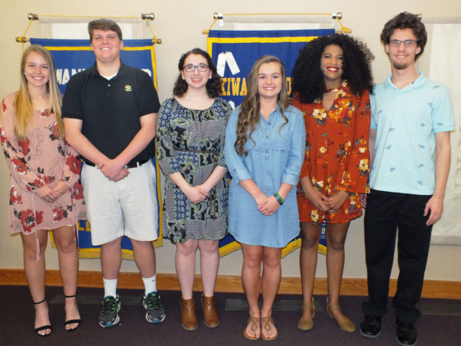 The Golden K Kiwanis Club of Fort Dodge announced the eight students receiving the Club's $1,000 scholarships.  Pictured from left are Taylor Gibson, Charles Doyle, Rachel Sherry, Jacey Farrell, Zainab Illo and James Curtis. Hannah Beshey and Alex Craig are not pictured. Sherry and Doyle were from St. Edmond High School, while the other students were from Fort Dodge Senior High.