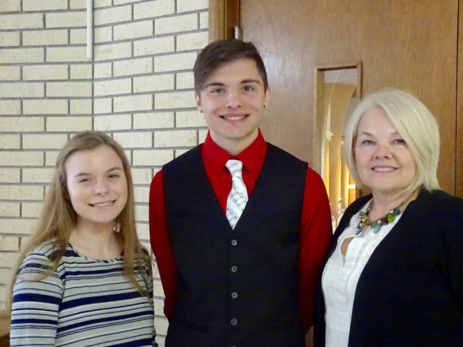Webster County Retired School Personnel awards two scholarships yearly to students of Webster County Schools. This year, the scholarships are awarded to Hannah Macek, a senior at Fort Dodge Senior High, and Hunter Johnson, a senior at Manson Northwest Webster High School. They are pictured with Deb Peterson, president of WCRSP.