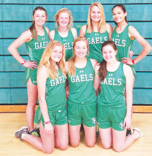 —Messenger photo by Chris Johnson  State qualifiers for the St. edmond girls track team are, front row (left to right): Devyn Scott, Megan Flattery, ErinFlattery. Back: AbbyLandwehr, Audrey Kolacia,JoeliKoenig, Josephine Perry.