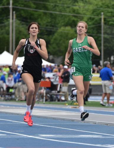 -Messenger photo by Britt Kudla Megan Flattery of St. Edmond compete during class 1A girls 400 meter dash on Thursday at Drake Stadium