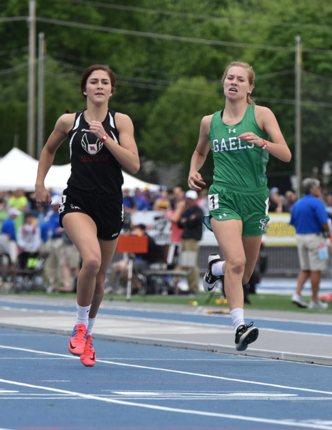 -Messenger photo by Britt Kudla Megan Flattery of St. Edmond compete during class 1A girls 400 meter dash on Thursday at Drake Stadium