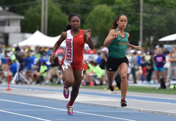 -Messenger photo by Britt Kudla Shariah Smith of Fort Dodge compete during class 4A 100 meter dash on Thursday at Drake Stadium