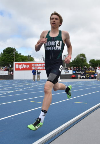 -Messenger photo by Britt Kudla Riley Bauer of North Union compete during class 1A boys 3200 meter run on Thursday at Drake Stadium