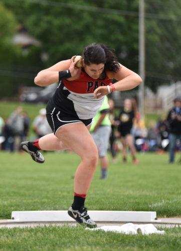 Messenger photo by Britt Kudla Kenize Zullivan of Pocahontas Area compete during class 2A shot put on Thursday