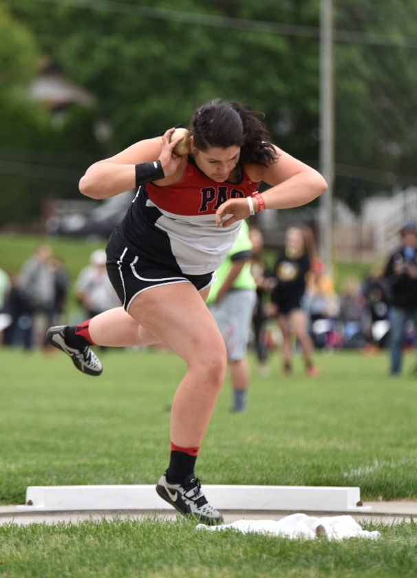 Messenger photo by Britt Kudla Kenize Zullivan of Pocahontas Area compete during class 2A shot put on Thursday
