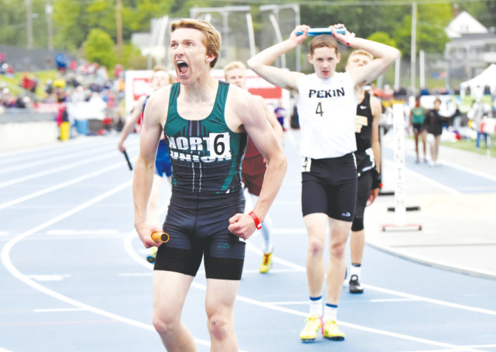 Messenger photo by Britt Kudla   North Union's Riley Bauer reacts after beating Pekin for second place in the Class 1A distance medley relay on Friday inside Drake Stadium. For more photos, visit CU at messengernews.net