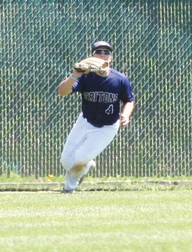 Messenger file photo  Fort Dodge Senior High graduate AustinHalligan makes a catch for the Tritons earlier this season.
