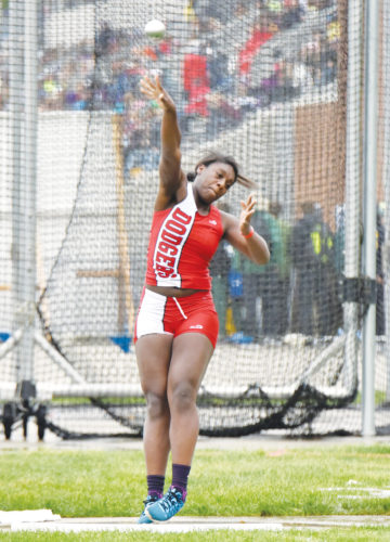 Messenger photo by Britt Kudla  Fort Dodge's Car'Maiya Mosley competes in the Class 4A shot put on Friday. For more photos, visit CU at messengernews.net