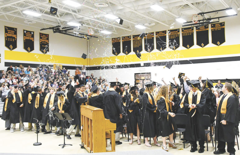 The members of the Class of 2017 let fly with confetti, silly string and their mortarboards as they were officially termed graduates of Emmetsburg High School. A total of 57 diplomas were awarded to the Class of 2017 during commencement exercises on Sunday afternoon.