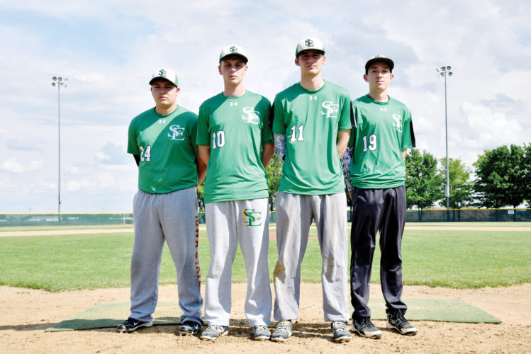 Messenger photo by Britt Kudla  The St. Edmond baseball team's returning letterwinners are (left to right): Jake Szalat, Sam Dougall, Brant Reiling and Nick O'Brien. Not pictured: Cole Allison.