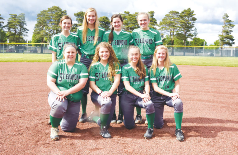 -Messenger photo by Britt Kudla St. Edmond Softball Returning Letterwinners are, left to right, Front Row: Sydney Nelson, Macey Mason, Rylee Kinney, Audrey Kolacia Back Row: Jacque O'Berg, Megan Flattery, Erin Flattery, and Jocy Timmmerman