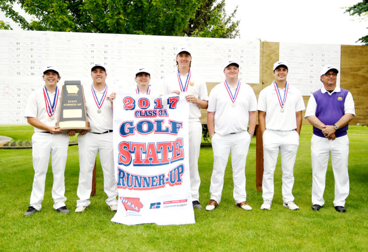 Photo by Troy Banning, for The Messenger  Members of the state runner-up Webster City boys golf squad are (left to right): Nathan Ferrell, Drew Fielder, Bryan Ferrell, Connor Shannon, Brian Borkowski, James Van Diest and head coach Dave Brighton.