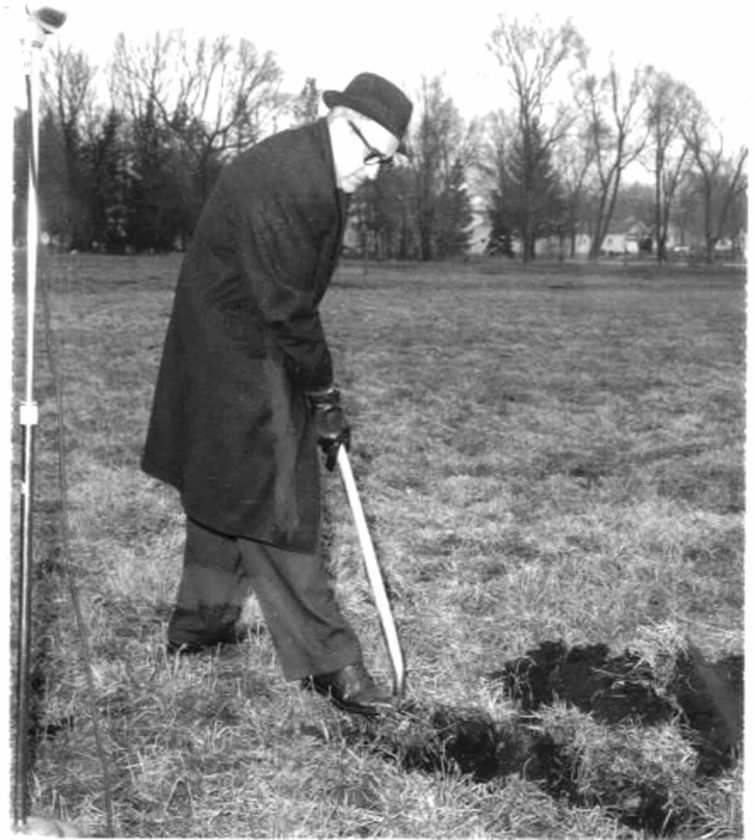 -Submitted photo Dr. Joe Schoofs, mayor of Pocahontas at the time and an eye doctor, breaks ground on the Pocahontas Community Hospital, which opened in 1967. Schoofs was one of the key players in the city's founding of a hospital.